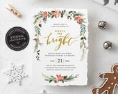 Editable Floral Watercolor Christmas Party Invitation Template, Merry and Bright Christmas Invitation Printable, Instant Download, 014