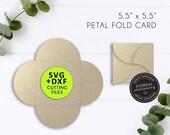 Square Petal fold Invitation Card SVG Template, Petal fold card SVG, svg cutting file, DXF, laser cut wedding invitation, Cameo, Cricut