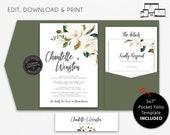 Elegant Magnolia Pocket Wedding Invitation Suite, Floral, greenery, leaves, Wedding Invitation template, pocketfold, pocket folio, Chantelle