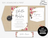 Pocket Wedding Invitation Suite, Floral, Watercolor, Wedding Invitation template, Printable, Editable, pocketfold, pocket folio, Abella