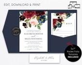 Pocket Wedding Invitation Suite, Floral, navy, burgundy, roses, watercolour, Wedding Invitation, pocketfold, pocket folio, Elizabeth