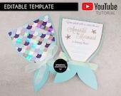 DIY Editable Mermaid Tail Invitation Template, Microsoft Word, mermaid party, under the sea, girls birthday invitation