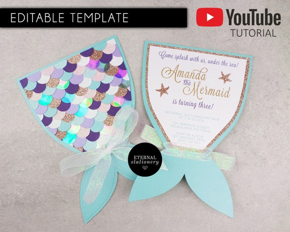 graphic about Mermaid Tail Template Printable identified as Do-it-yourself Editable Mermaid Tail Invitation Template, MS Term Template, mermaid bash, beneath the sea invites,the small mermaid, PDF, printable