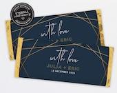 Chocolate Bar Wrapper Template, Modern Geometric Wedding favours, candy wrapper template, gold foil chocolate wrapper, Aldi, Hershey, Julia