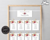 Vibrant Floral Seating Chart Template, seating chart, editable wedding seating chart cards, Printable Sign, guest seating chart, Georgia