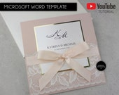 Editable Microsoft Word Wedding Invitation Suite, Template, Lace Wedding Invitation, elegant, gold foil, blush, nude, gold, Katrina