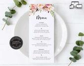 Elegant Floral Menu Template, Watercolour menu, Boho menu, Editable Menu, Wedding Menu, Birthday, Christening, Baptism, Dinner menu, Elsie