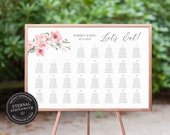 Floral Cherry Blossom Wedding Seating Chart Template, editable seating chart, sakura, Printable Seating Sign, guest seating chart, Harriet