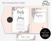 Pocket Wedding Invitation Suite, Floral, watercolour, Wedding Invitation template, Printable, Editable, pocketfold, pocket folio, Karly