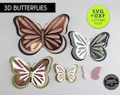 3D Butterfly Cutting File Templates, Paper Butterfly SVG, DXF, butterfly wall decor, 3D butterfly nursery decor, Butterfly wall art