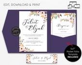 Pocket Wedding Invitation Suite, Floral, Boho, watercolour, Wedding Invitation template Printable, pocketfold, pocket folio, Juliet
