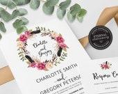 Floral Boho Wreath Wedding Invitation, Wedding Invitation template, Wedding Invitation Printable, Rustic, Editable Invitation, Charlotte
