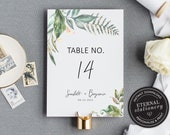 Table Number Template, Greenery Table Number, Table Number wedding, Wedding Table Numbers Template, Botanical, Scarlett