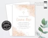 Blush Pink and Rose Gold Christening/Baptism Invitation, Girl, Baptism, Christening, Watercolour, Editable Template, Baby Girl, Liana