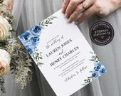 Blue Rose Wedding Invitation, Boho Wedding Invitation template, Wedding Invitation Printable, navy, blue flowers, watercolor, Lauren
