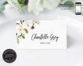 Elegant Magnolia Editable Place Card Template, Watercolour, botanical, Wedding Place Cards, Name Card, Table, Floral, Flowers, Chantelle