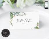 Editable Place Card Template, Leafy, Eucalyptus, Watercolor, Wedding Place Cards, Name, Table Card, leaf, Botanical, Eucalyptus, Scarlett