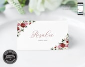 Editable Place Card Template, Floral Watercolor, Wedding Place Cards, Tent Card, Name Card, Table Card, Floral, Watercolour, Rose, Rosalie