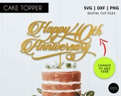 Any Age Happy Anniversary Cake Topper, SVG, DXF, PNG, cricut, silhouette, 10th, 20th, 30th, 40th, 50th, 60th, 70th, anniversary cake topper