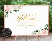 Wedding Welcome Sign with Florals and Eucalyptus, Wedding Welcome Sign Template, Custom Wedding Sign, Printable Welcome Sign, Caroline