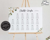 Floral Seating Chart Template with Magnolia watercolour, editable wedding seating chart, Printable Sign, guest seating chart, Chantelle