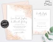 Rose Gold Watercolour Wedding Invitation, Wedding Invitation template, Wedding Invitation Printable, Editable, Blush, watercolor, Liana
