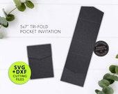 """5x7"""" Pocket Wedding Invitation Template, Long Vertical Pocket, Laser Cut Pocket SVG, DXF, cut file, tri fold card, pocket envelope, Cricut"""