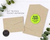 5x7 Pocket Wedding Invitation Template, SVG, DXF, Pocket Folio, pocket invitation, pocket envelope, tri fold invitation, cricut, laser cut