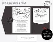 Pocket Wedding Invitation Suite, modern, black and white wedding Invitation template, Printable, pocketfold, pocket folio, Cassandra