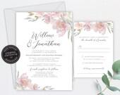 Blush Pink and Grey Wedding Invitation, Wedding Invitation template, Wedding Invitation Printable, Editable, Watercolour, Roses, Willow