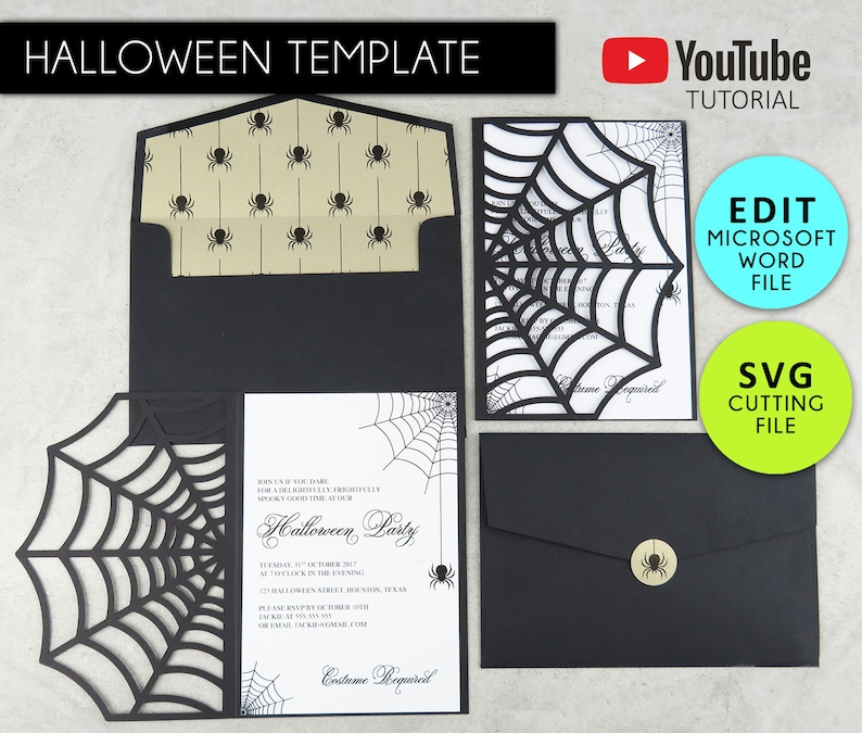 Halloween Cobweb Invitation Editable Microsoft Word Template SVG File Decor Spider