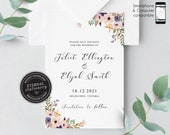 Floral Watercolor Save the Date Invitation, Wedding Invitation template, Save the Date Printable, Editable Invitation, roses, Juliet
