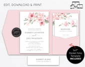 Pocket Wedding Invitation Suite, Floral, Sakura Cherry Bloom, Wedding Invitation template, Printable, pocketfold, pocket folio, Harriet