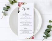 Floral Watercolor Menu Template, Editable Menu, Floral Watercolor, Wedding Menu, Birthday, Christening, Baptism, Dinner, Lunch, Abella