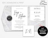 """Marble Pocket Wedding Invitation Suite with 5x7"""" Pocket fold template, Wedding Invitation template, Printable, Editable, PDF, Enja"""
