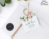 Soft Floral Gift Tag template, eucalyptus, bonbonniere tags, wedding favour tag template, printable gift tags, thank you, Stephanie