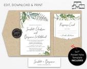 Pocket Wedding Invitation Suite, Greenery, Eucalyptus Wedding Invitation, leaf, pocketfold, pocket folio, watercolour, Scarlett