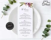 Floral Menu Template, Elegant, Boho, Watercolour, Editable Menu, Wedding Menu, Birthday, Christening, Baptism, Dinner menu, Ella