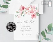 Cherry Blossom Save the Date Card, Wedding Invitation template, Printable, Editable, Floral Watercolor, sakura, pink blossom, Harriet
