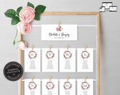Floral Seating Chart Template, rustic seating chart, editable wedding seating chart cards, Printable Sign, guest seating chart, Charlotte