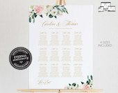 Floral Seating Chart Template with Eucalyptus, editable wedding seating chart, Poster, Printable Seating Sign, guest seating chart, Caroline