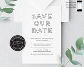 Modern Save the Date Invitation, Wedding Invitation template, Save the Date Printable, Invitation, Editable, modern invitation, Olivia