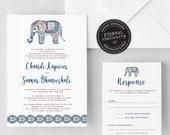 Indian Wedding Invitation, Wedding Invitation template, Wedding Invitation Printable, Invitation, Editable Invitation, DIY, elephant, Chandi
