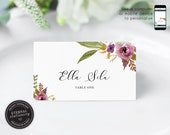 Editable Place Card Template, Floral Watercolor, Wedding Place Cards, Tent Card, Name Card, Table Card, Floral, Watercolour, Ella