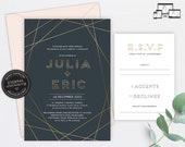 Gold Foil Geometric Wedding Invitation, Wedding Invitation template, Wedding Invitation Printable, Editable, Navy, modern, geometric, Julia