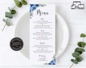 Elegant Blue Flower Menu Template, navy menu, Editable Menu, Wedding Menu, Birthday, Christening, Baptism, Dinner menu, Lauren