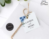 Blue Rose Watercolour Gift Tag template, bonbonniere tags, wedding favour tag template, printable gift tag, thank you, bridal shower, Lauren