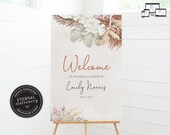 Boho Bridal Shower Welcome Sign, Wedding Welcome Sign, Bridal Shower Stationery, Neutral Florals, Boho chic, Pampas Grass, Emily