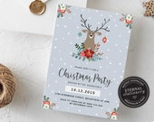 Cute Reindeer Christmas Party Invitation Template, Christmas Invitation Printable, Editable, Instant Download, Holiday, Whimsical, 010