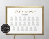 Gold Foil Seating Chart Template, Modern, Minimalist, editable wedding seating chart, Printable Seating Sign, guest seating chart, Beverly